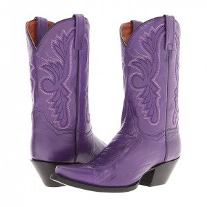 Purple Cowgirl Boots Vintage Square Toe Chunky Heel Mid Calf Boots