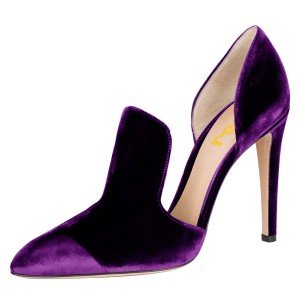 Purple Double D'orsay Pointy Toe Stiletto Heels Pumps