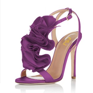 Purple Evening Shoes Satin Stiletto Heel Flower Sandals for Prom