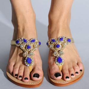 Purple Jeweled Sandals Flat Summer Beach Flip Flops Sandals