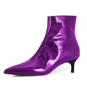 Purple Kitten Heel Ankle Booties