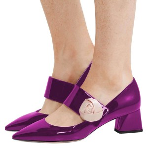 Purple Mirror Leather Satin Flower Block Heels Pumps