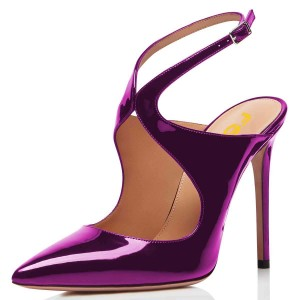Purple Mirror Leather Slingback Pumps Stiletto Heel Pointy Toe