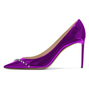 Purple Mirror Leather Stud Stiletto Heels Office Shoes Pumps