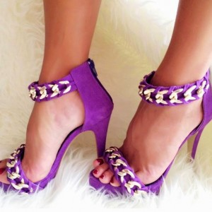 Purple Open Toe Heels Suede Platform Sandals with Chains