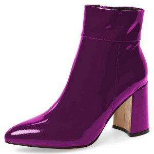 Purple Patent Leather Chunky Heel Boots Ankle Boots