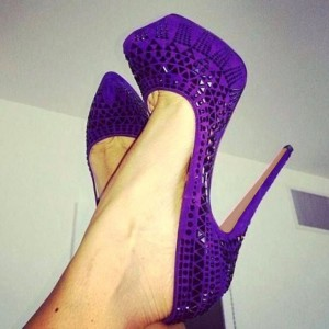 Purple Platform Heels Sequined Platform Pumps Stiletto Heels