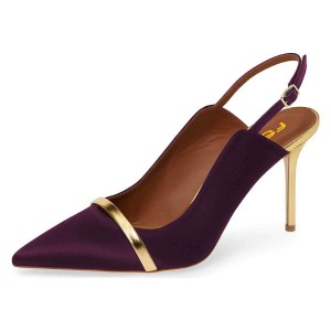 Purple Pointy Toe Gold Strap Stiletto Heel Slingback Pumps