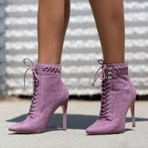 Purple Pointy Toe Lace up Boots Suede Stiletto Heel Ankle Booties