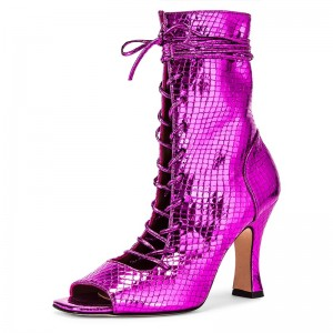 Purple Python Lace Up Boots Peep Toe Spool Heel Ankle Boots