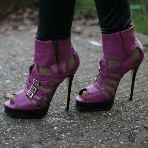 Purple Python Summer Boots Peep Toe Hollow out Buckles Ankle Booties