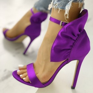 Purple Satin Ruffle Open Toe Stiletto Heel Ankle Strap Sandals