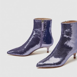Purple Sequined kitten Heel Boots Ankle Boots