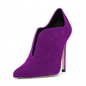 Purple Stiletto Boots Suede Pointy Toe Heeled Ankle Booties