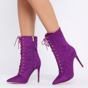 Purple Lace up Boots Pointy Toe Stiletto Heel Suede Ankle Booties