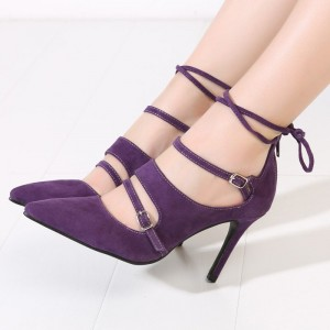 Purple Strappy Heels Buckles Pointy Toe Suede Pumps Stiletto Heels
