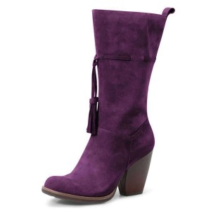 Purple Suede Boots Tassel Chunky Heel Mid Calf Boots