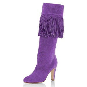 Purple Suede Fringe Chunky Heel Boots Knee-high Boots