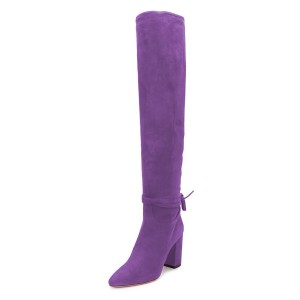 Purple Suede Long Boots Chunky Heel Knee-high Boots