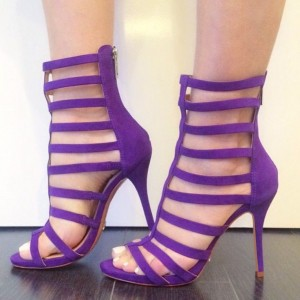 Purple Gladiator Heels Open Toe Strappy Stiletto Heels Sandals