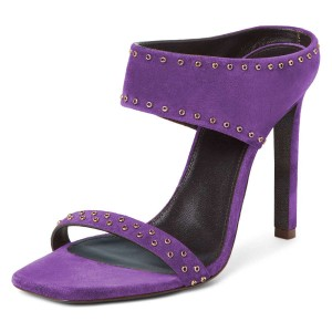 Purple Suede Open Toe Cut Out Mule Heels