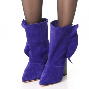 Purple Suede Pointy Toe Block Heels Ankle Booties with Ruffle