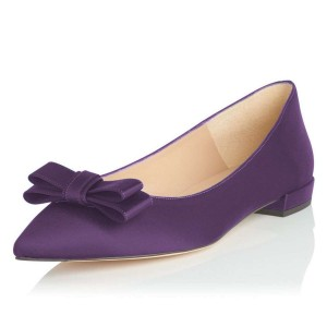 Purple Suede Pointy Toe Comfortable Flats by FSJ