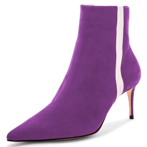 Purple Suede Pointy Toe White Stripe Stiletto Heel Ankle Booties