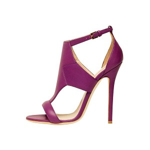 Purple T Strap Sandals Ankle Strap Stiletto Heels