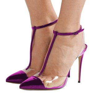 Purple T Strap Sandals Mirror Leather Ankle Strap Clear Sandals