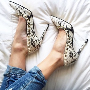 Python Black and White Heels Pointy Toe Stilettos Pumps with Rivets