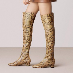 Snakeskin Boots Low Heel Fashion Over-the-Knee Boots