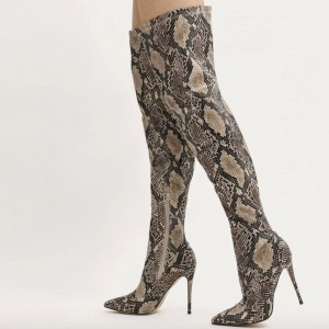 Python Print Long Boots Pointy Toe Stiletto Heels Thigh-high Boots