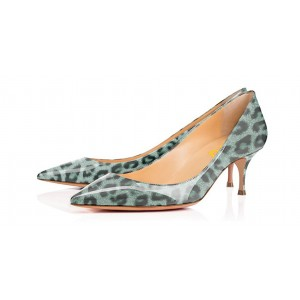 Women's Cyan Crystal Leopard-Print Pointed Toe Kitten heels Pumps