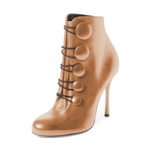 Tan Boots Round Toe Buttoned Stiletto Heel Ankle Booties for Women