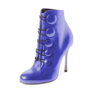 Royal Blue Stiletto Boots Heeled Buttoned Ankle Booties for Women