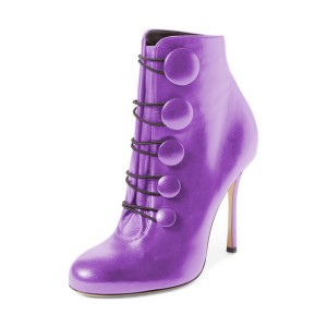 Purple Heeled Boots Round Toe Stiletto Heel Buttoned Ankle Booties