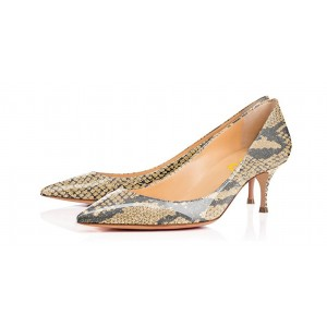 Light Yellow Crystal Python-Print Kitten-heel Pumps