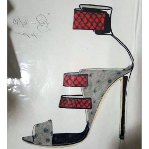 Ms Mia Stiletto Heels Grey Ostrich and Red Snake Sandals Provide by Haus of Domina Belle