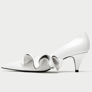 White Stiletto Heels Dress Shoes Pointy Toe Leather Pumps