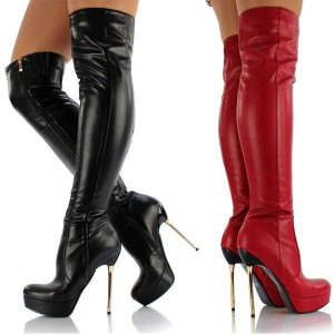 Women's Round Toe Metal Stiletto Heels Over-The- Knee Boots
