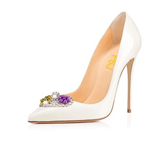 White Bridal Heels Rhinestone Heart Shaped Stilettos Pumps for Wedding