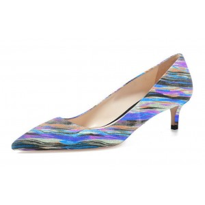 Women's Light Blue Stripes Low-cut Kitten Heels Pumps