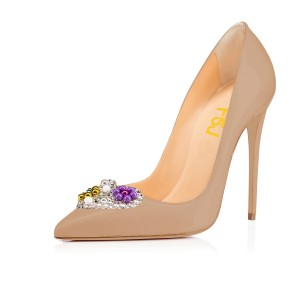Light Brown Crystal Heart Low-cut Upper Stiletto Heel Pumps