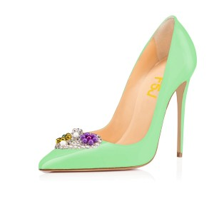 Lime Rhinestone Heels Patent Leather Pumps for Office Ladies