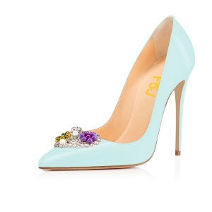Women's Light Blue Crystal Heart Low-cut Upper Stiletto Heels Bridals Shoes