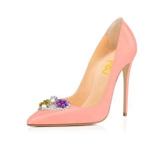 Pink Stiletto Heel Rhinestone Pointy Toe Pumps