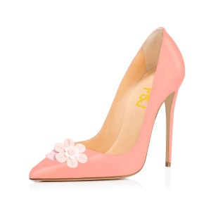 Pink Dress Shoes Stiletto Heels Floral Pointy Toe Pumps for Female