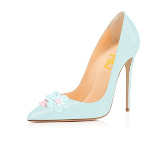 Aqua Flowers Pointy Toe Stiletto Heels Patent Leather Pumps by FSJ