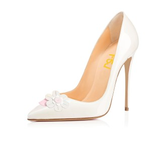White Office Heels Patent Leather Flower Pointy Toe Stilettos Pumps
